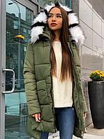 Зимняя куртка женская с капюшоном стильная хаки