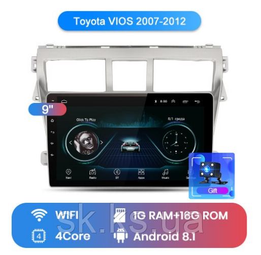 Junsun 4G Android магнитола для  Toyota VIOS 2007 2008 2009 2010 2011 2012 wifi