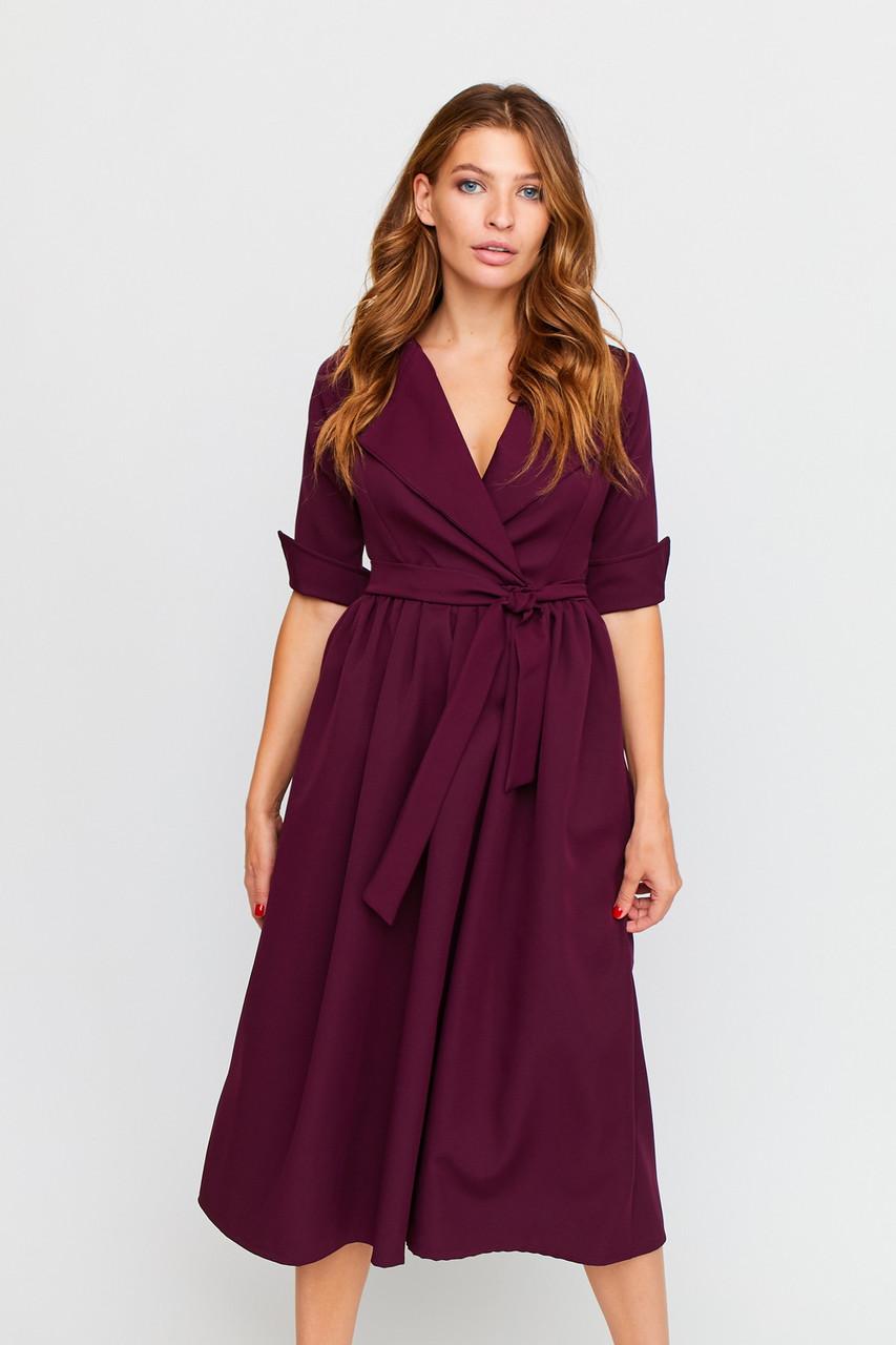 Стильне жіноче плаття міді винного кольору