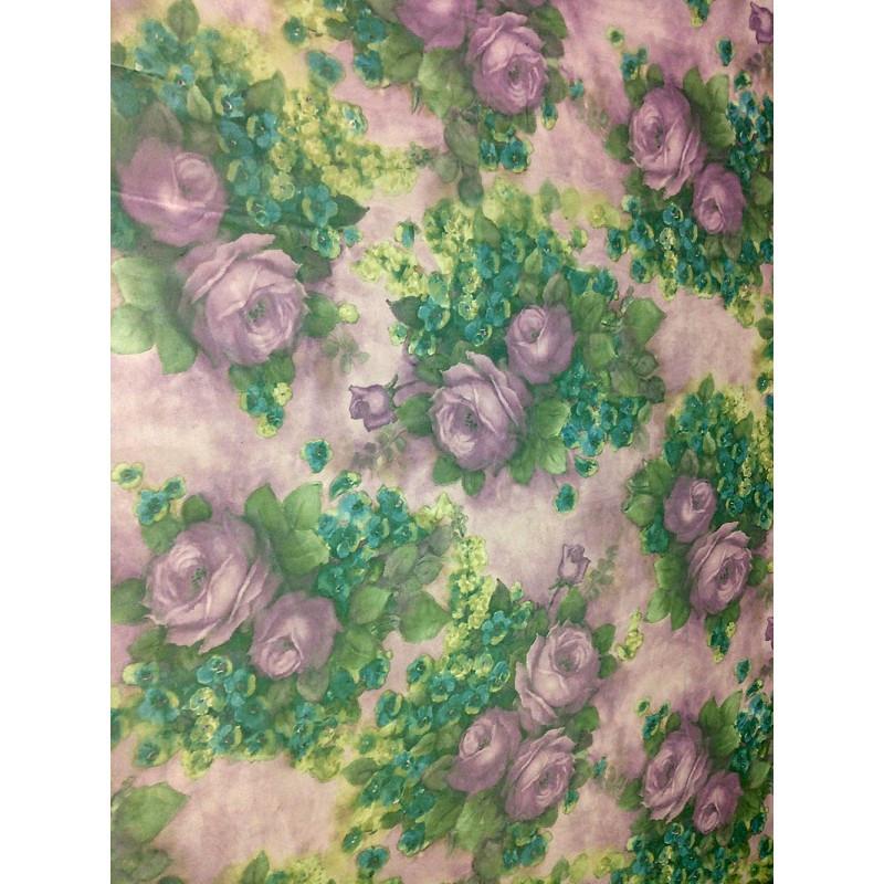 Шифон принт - фиолетовый фон цветы розы