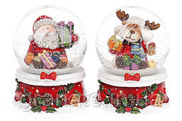 """Снежный водяной шар """"Санта и олень"""" 9см (8 шт в упаковке)"""