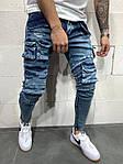 Мужские джинсы с большим количеством разных карманов (синие) - Турция, фото 2