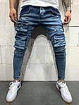 Мужские джинсы с большим количеством разных карманов (синие) - Турция, фото 3