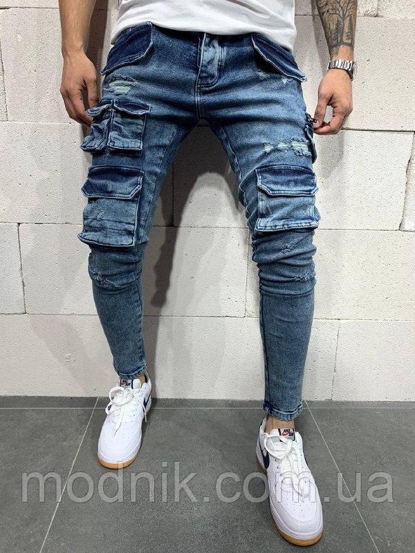 Мужские джинсы с большим количеством разных карманов (синие) - Турция