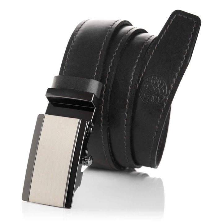 Ремінь чоловічий шкіряний Betlewski® 2,9 х 0,4 (AUTO-LIC30-k1) - чорний
