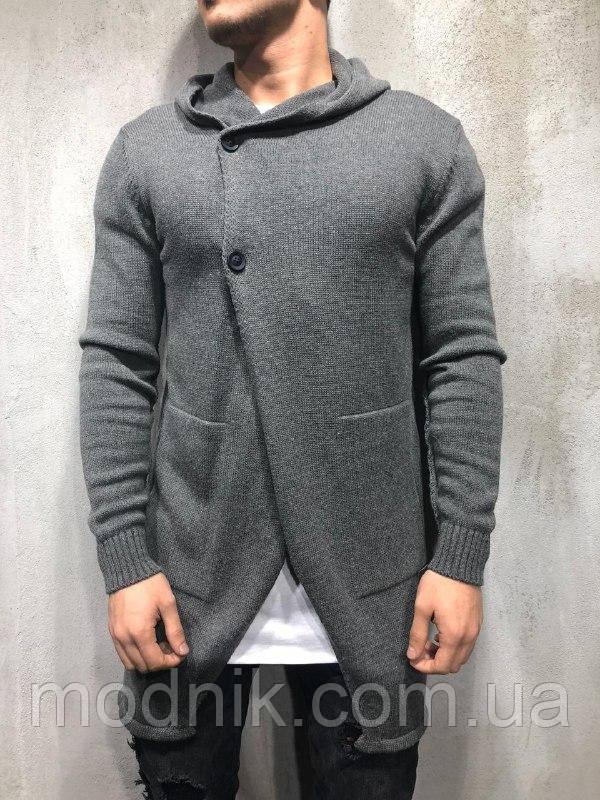 Мужской стильный кардиган (серый) - Турция