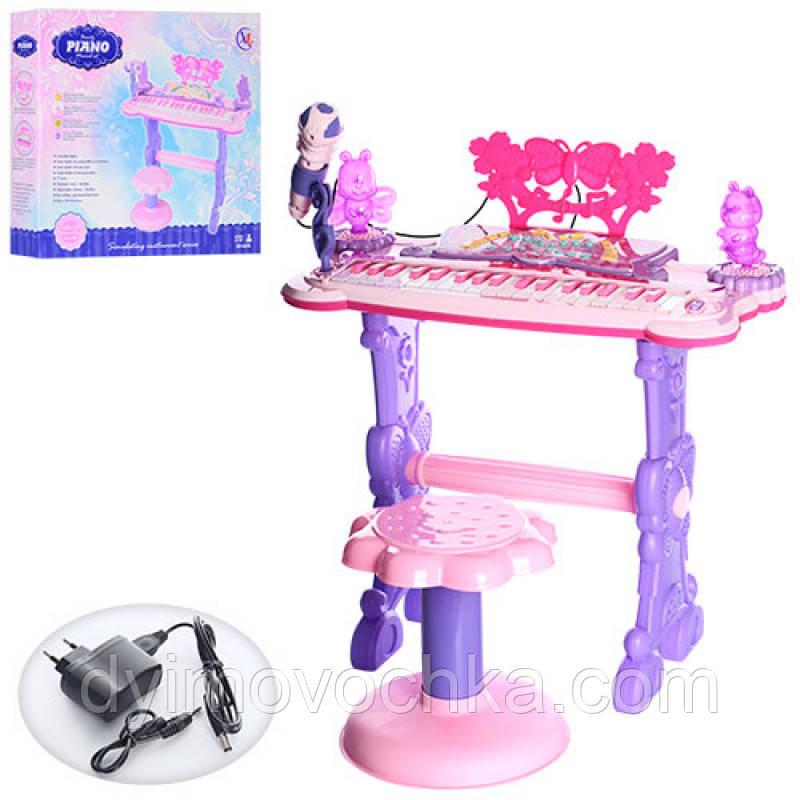 Синтезатор детский 6618 37клавиш,на ножках,стульчик,микрофон,демо,свет,MP3,от сети