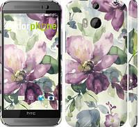 "Чехол на HTC One M8 Цветы акварелью ""2237c-30"""