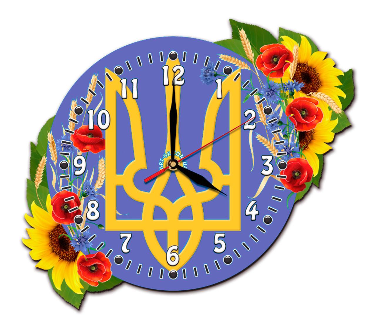 Часы символикой Украины в цветах 28*40 см