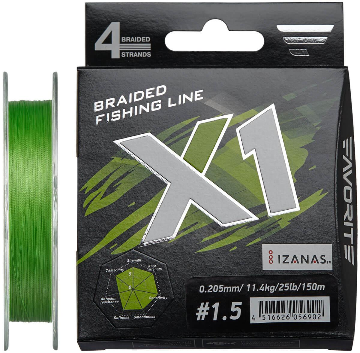 Шнур Favorite X1 PE 4x 150m (l.green) #1.5/0.205 mm 25lb/11.4 kg