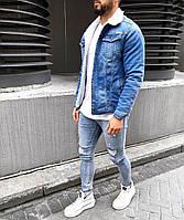 😜Мужской джинсовый пиджак с мехом внутри