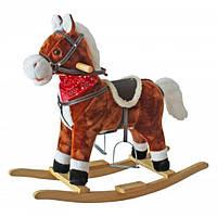 Лошадь-качалка музыкальная коричневая Польша YL-XL-106S