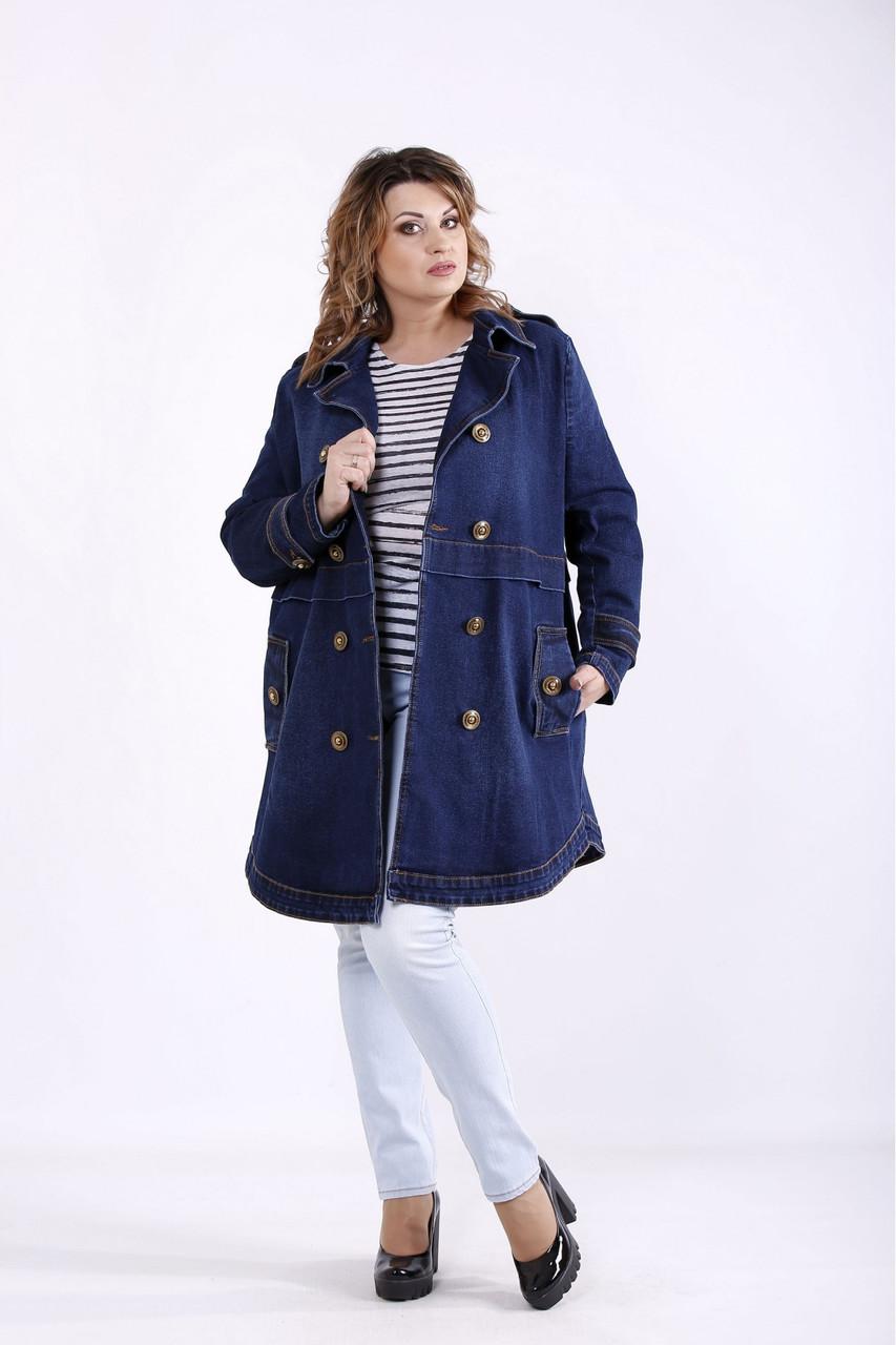 Удлиненная джинсовая куртка женская синего цвета батал размеры 42-74. J01263-1