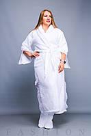 Женский длинный махровый халат с сапожками батал