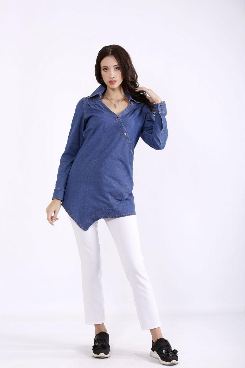 J01285-1синяя | Джинсова блузка великий розмір 42-74