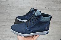 Мужские зимние ботинки на меху в стиле Timberland, синие 41