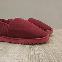 Бордовые красные теплые низкие УГГИ короткие, слипоны меховые autoledy автоледи 36-42 на меху тапочки зимние ., фото 3