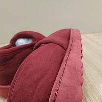 Бордовые красные теплые низкие УГГИ короткие, слипоны меховые autoledy автоледи 36-42 на меху тапочки зимние ., фото 2