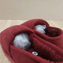 Бордові червоні теплі низькі УГГІ короткі, сліпони хутряні autoledy автоледі 36-42 на хутрі тапочки зимові ., фото 3