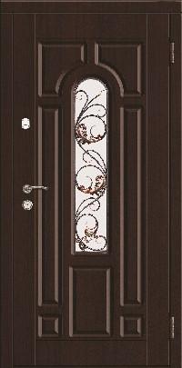Входная дверь со стеклопакетом и ковкой.