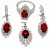 """Набор ХР """"кулон,серьги и кольцо """"Цвет:серебряный ; Камни: красный циркон и  белые фианиты. 17р."""