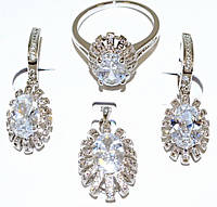 "Набор ХР ""кулон,серьги и кольцо ""Цвет:серебряный ; Камни: белый циркон 16,5р 17,5р."
