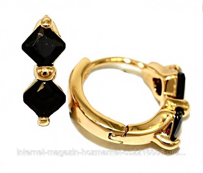Серьги фирмы Xuping.Цвет: позолота. Камни: чёрный циркон. Высота серьги: 1,2 см. Ширина: 5 мм.
