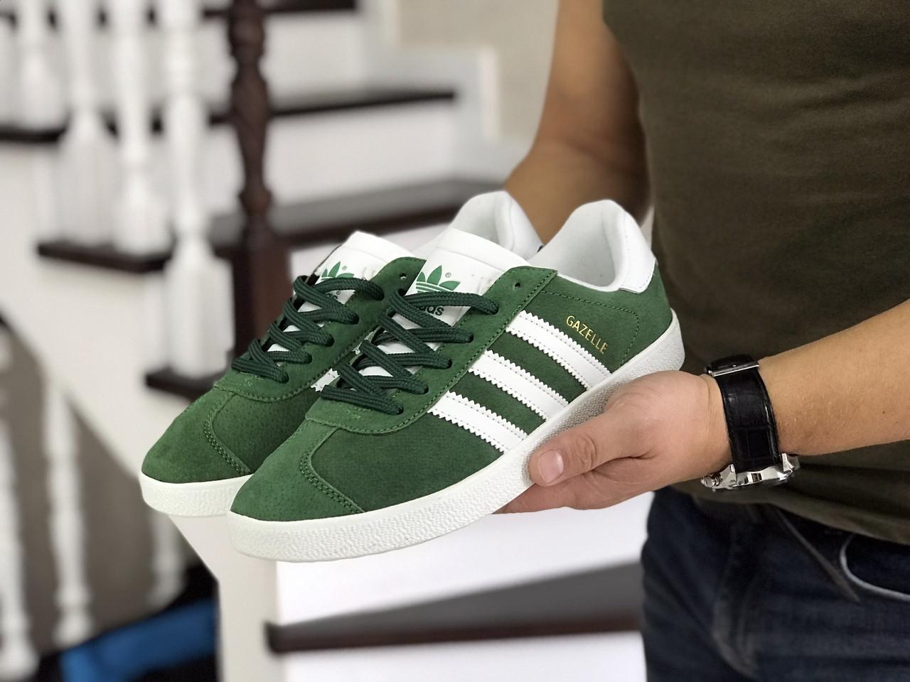 Мужские зеленые кроссовки искусственная замша