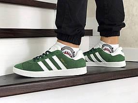 Мужские зеленые кроссовки искусственная замша, фото 3