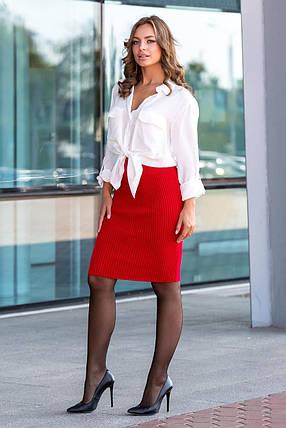 Вязаная юбка «Миледи» миди (красный), фото 2
