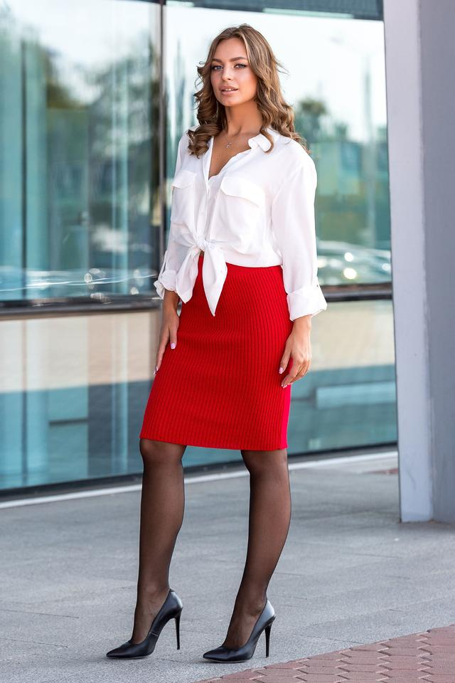 Вязаная юбка «Миледи» миди (красный)