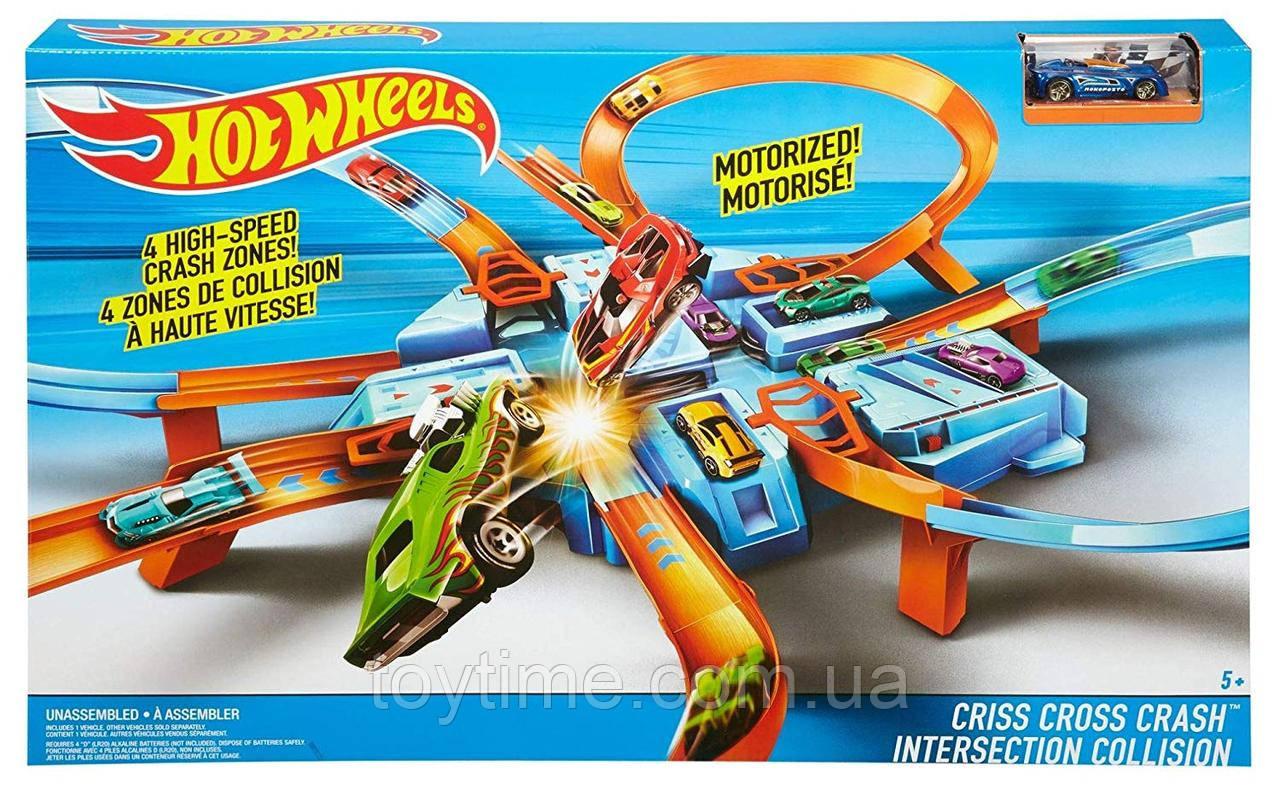 Гоночный Трек Хот Вилс опасный перекресток / Hot Wheels Criss Cross Crash Track Set