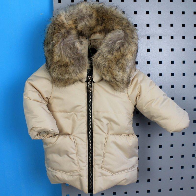 Зимняя куртка с капюшоном для девочки бежевая тм Одягайко рост 98