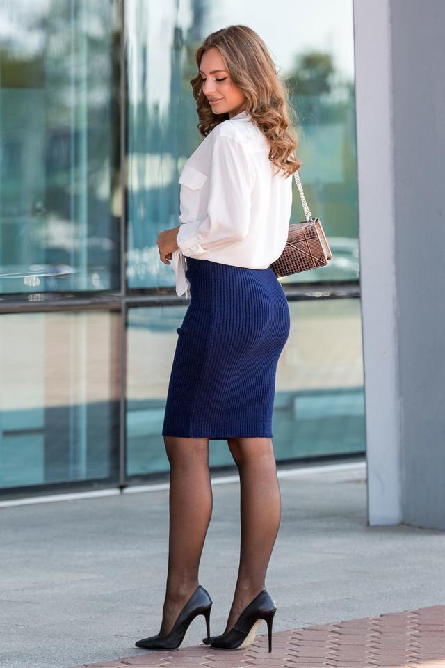 Вязаная юбка «Миледи» миди (синий)