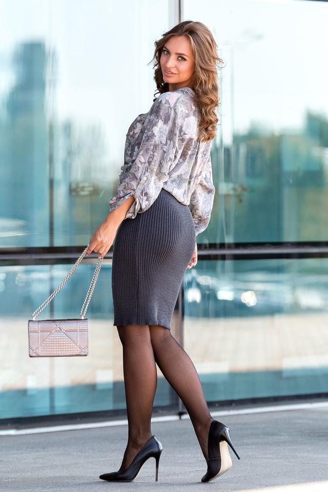 Вязаная юбка «Миледи» миди (графит)