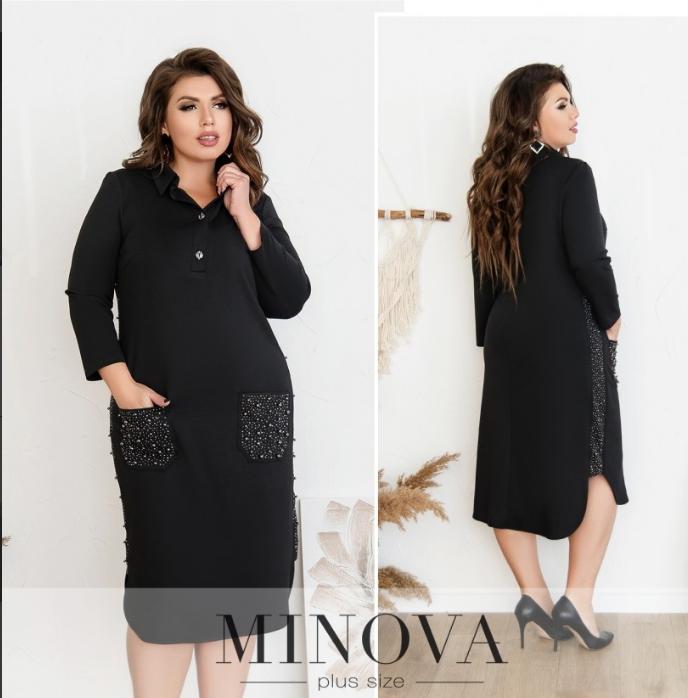 Повседневное платье-миди батал ( черный, хаки, синий )  Размеры: 52,54,56
