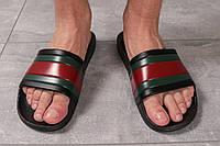 Мужские шлепанцы в стиле Gucci, черные с красным 41 (27,2 см)