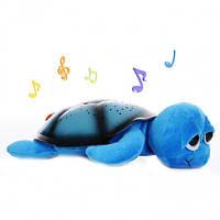Ночник проектор звездного неба, Музыкальная черепаха синяя, детский светильник для детей