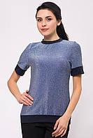 Трикотажная синяя блуза MEGAN с блестящим люрексом