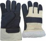 Перчатки утепленные из мебельной кожи
