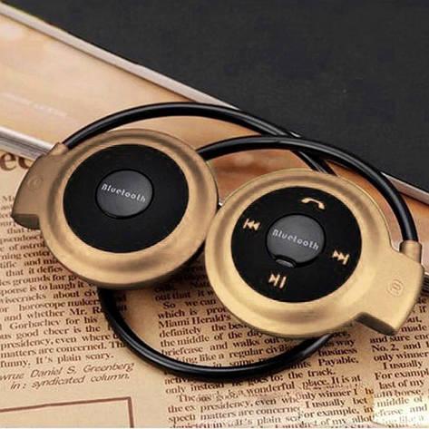 Беспроводная гарнитура 3в1 bluetooth-наушники, MP3-плеер, FM радио (золотистый), фото 2