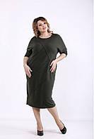 01286-3 | Свободное платье хаки большого размера 42-74
