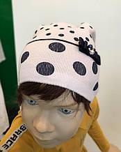 Дитяча шапка для дівчинки BARBARAS Польща BU214 / 0 білий весняна осіння демісезонна