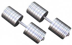 Гантелі 2 по 70 кг розбірні сталеві D 25 мм Сталеві гантелі