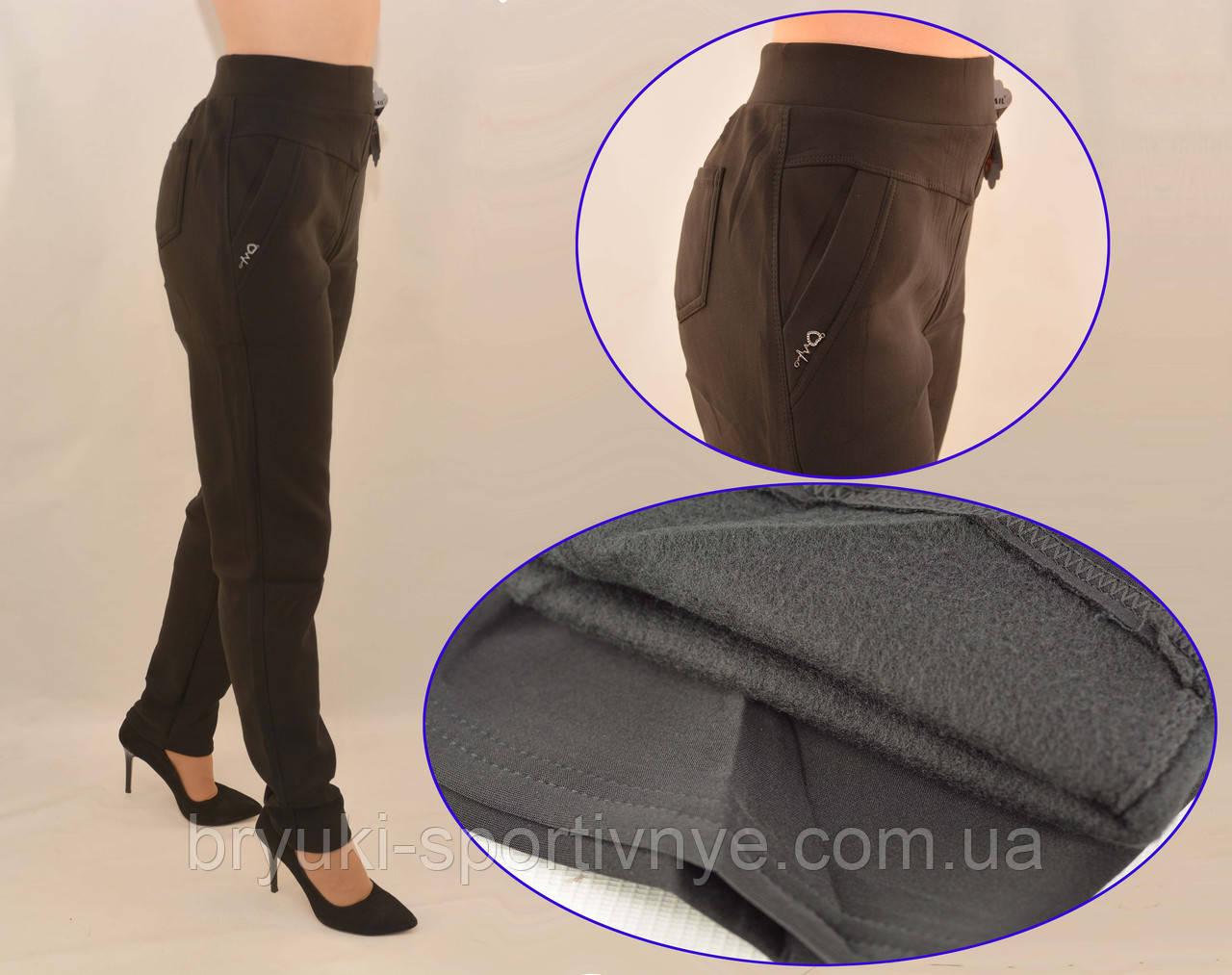 Брюки женские на флисе в больших размерах 5XL - 7XL Лосины зимние с карманами в черном цвете