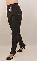 Брюки женские на флисе в больших размерах 5XL - 7XL Лосины зимние с карманами в черном цвете, фото 3