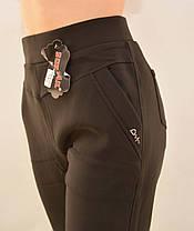 Брюки женские на флисе в больших размерах 5XL - 7XL Лосины зимние с карманами в черном цвете, фото 2