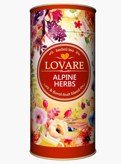 Травяной чай Lovare Alpine Herbs с ромашкой, эхинацеей, шиповником, мятой 80 грамм в подарочной упаковке