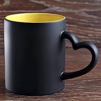 Чашка сублимационная.Сердце хамелеон цветная внутри/330мл(Желтая)
