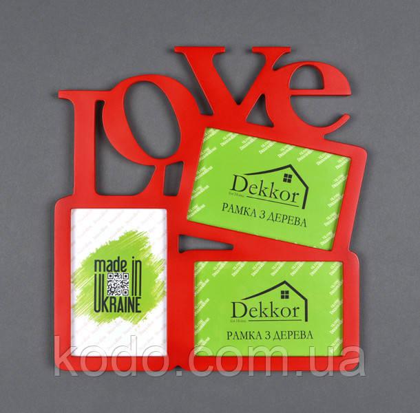 """Фоторамка мультирамка коллаж """"Love"""" из Дерева на 3 фото 10х15 см"""